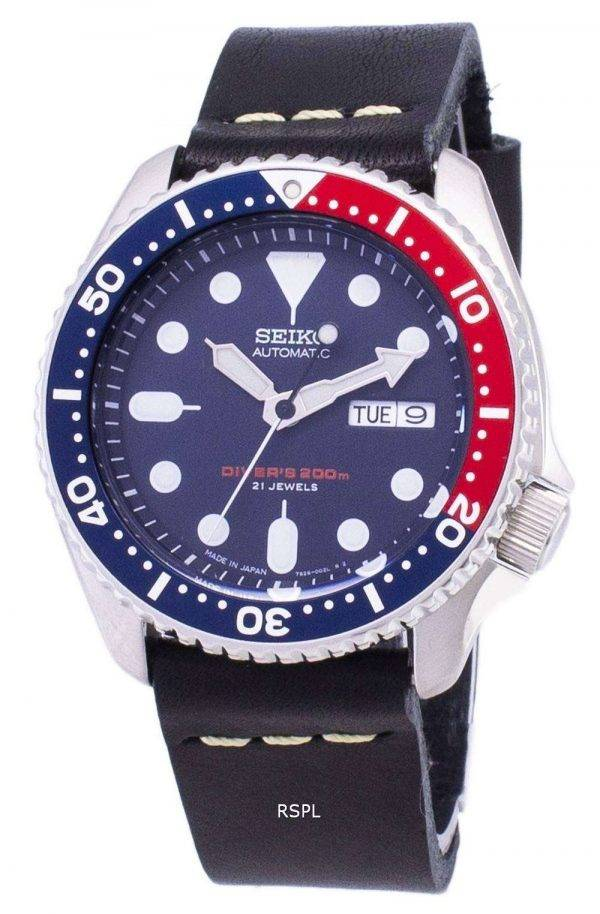 Seiko Automatic SKX009J1-LS14 Diver's 200M Japan Made Black Leather Strap Men's Watch