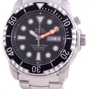 Ratio Free Diver Helium-Safe 1000M Sapphire Automatic 1068HA96-34VA-BLK Men's Watch