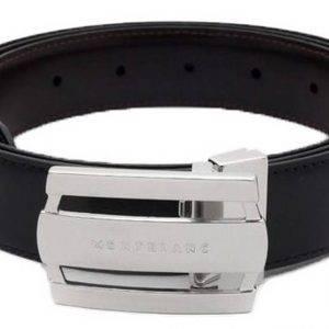 Montblanc 103431 Contemporary Line Rectangular Buckle Black/Brown Men's Reversible Leather Belt