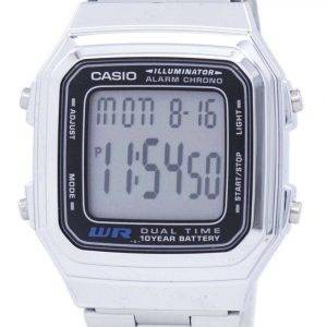 Casio Digital Stainless Steel Alarm Chrono Dual Time A178WA-1ADF A178WA-1A Men's Watch