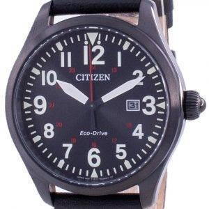 Citizen Black Dial Leather Strap Eco-Drive BM6835-23E 100M Men's Watch
