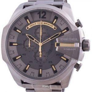Diesel Mega Chief Chronograph Grey Dial Stainless Steel Quartz DZ4466 100M Men's Watch