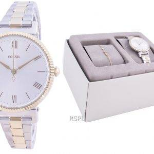 Fossil Daisy Silver Dial Stainless Steel Quartz ES4914SET With Gift Set Women's Watch