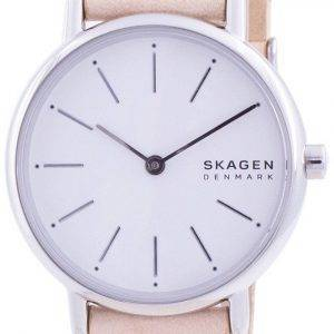 Skagen Signatur White Dial Pink Leather Strap Quartz SKW2839 Womens Watch