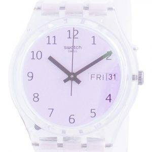 Swatch Ultrarose White Dial Silicone Strap Quartz GE714 Womens Watch