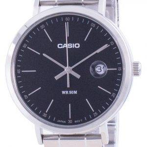 Casio Analog Black Dial Stainless Steel MTP-E175D-1E MTPE175D-1 Mens Watch