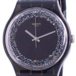 Swatch Darksparkles Black Dial Silicone Strap Quartz SUOB156 Womens Watch