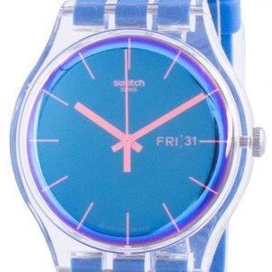 Swatch Polablue Blue Dial Silicone Strap Quartz SUOK711 Mens Watch