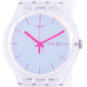 Swatch Polawhite White Dial Silicone Strap Quartz SUOK713 Mens Watch
