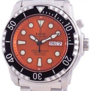 Ratio FreeDiver Helium-Safe 1000M Sapphire Automatic 1068HA96-34VA-ORG Men's Watch