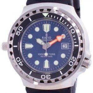 Ratio 2nd Generation Free Diver Helium-Safe Quartz 1038EF102V-BLU-V02 1000M Men's Watch