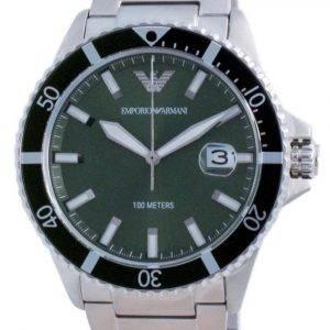 Emporio Armani Green Dial Stainless Steel Quartz AR11338 100M Men's Watch