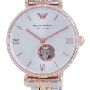 Emporio Armani Gianni T-Bar Open Heart Diamond Accents Automatic AR60019 Unisex Watch