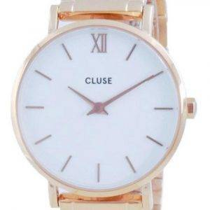 Cluse Minuit 3-Link White Dial Rose Gold Tone Stainless Steel Quartz CW0101203027 Womens Watch