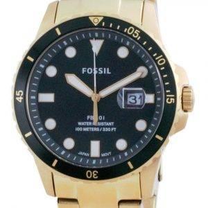 Fossil FB-01 Green Dial Stainless Steel Quartz FS5658 100M Mens Watch