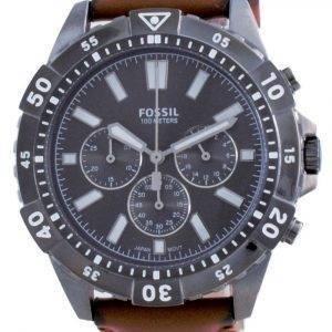 Fossil Garrett Chronograph Black Dial Leather Quartz FS5770 100M Mens Watch