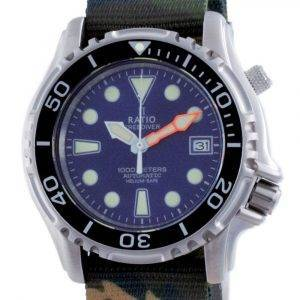 Ratio Free Diver Helium Safe Nylon Automatic Diver's 1066KE20-33VA-BLU-var-NATO5 1000M Men's Watch