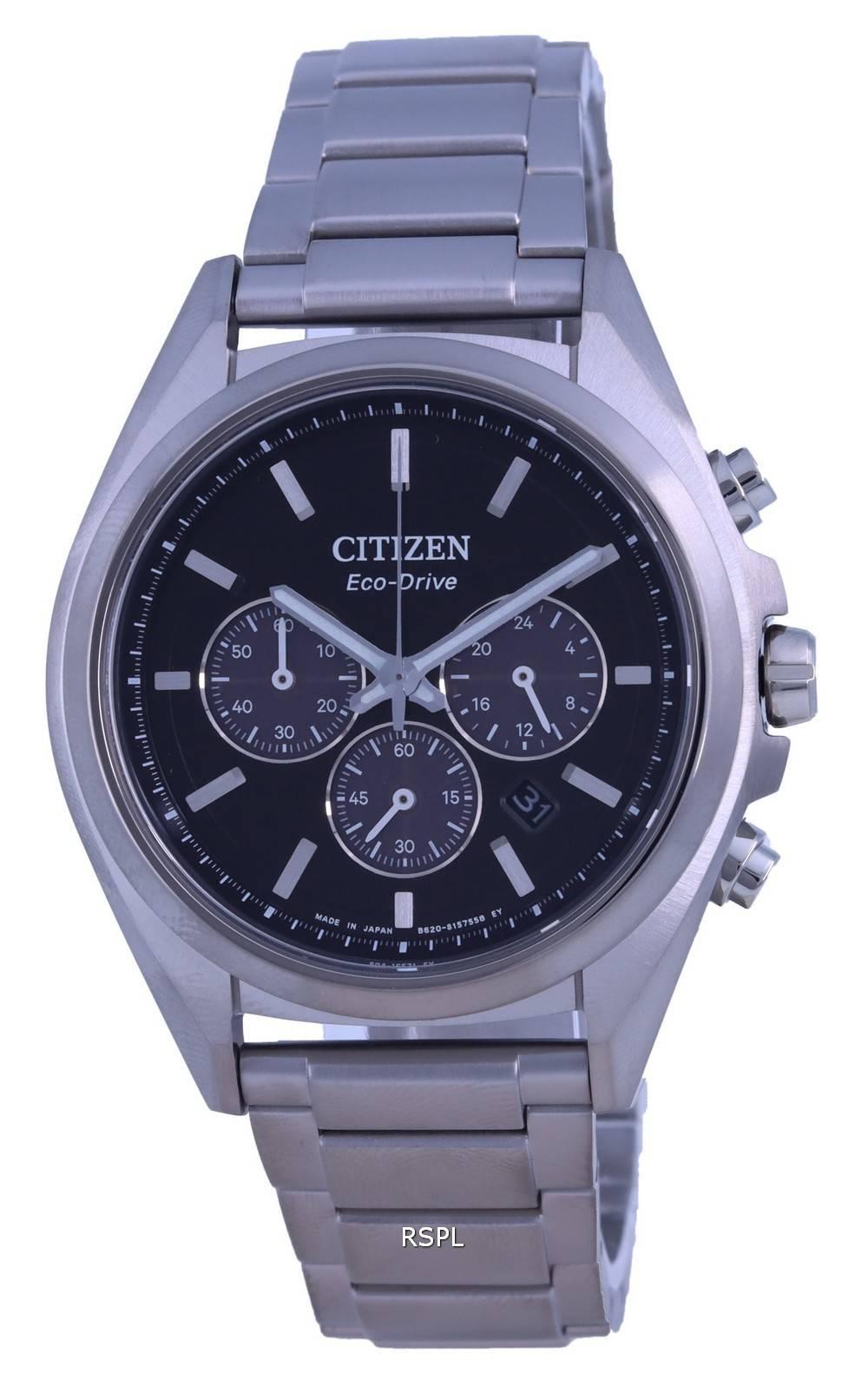 Citizen Attesa Chronograph Titanium Black Dial Eco-Drive CA4390-55E 100M Mens Watch