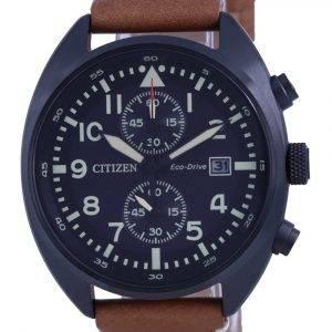 Citizen Chronograph Black Dial Leather Eco-Drive CA7045-14E 100M Mens Watch