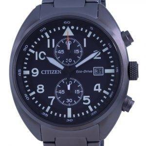 Citizen Chronograph Black Dial Stainless Steel Eco-Drive CA7047-86E 100M Mens Watch