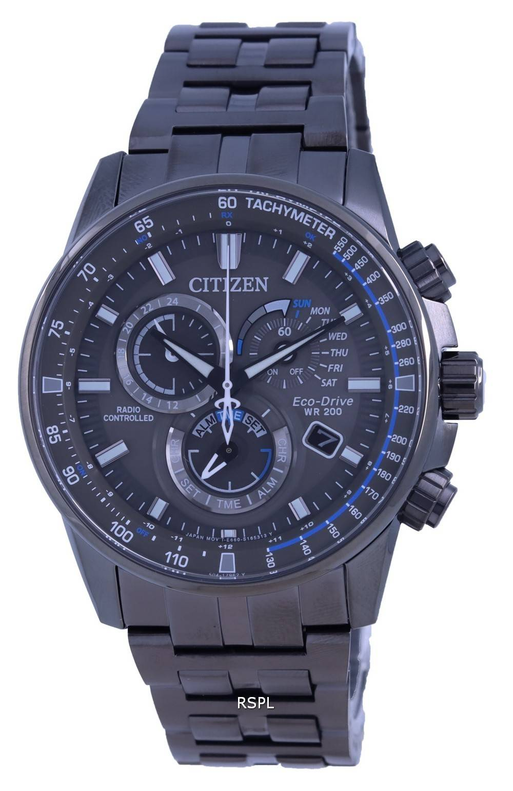 Citizen PCAT Black Dial Radio Controlled Chronograph Atomic Eco-Drive CB5887-55H 200M Mens Watch