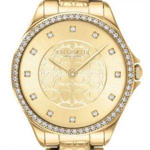 Coach Astor Crystal Accents Gold Tone Stainless Steel Quartz 14503504 Womens Watch