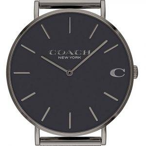 Coach Charles Black Dial Stainless Steel Mesh Quartz 14602145 Mens Watch