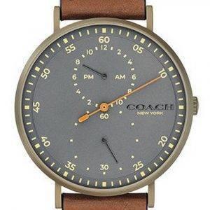 Coach Charles Grey Dial Leather Strap Quartz 14602474 Mens Watch
