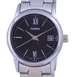 Casio Black Dial Stainless Steel Analog Quartz LTP-V002D-1B3 LTPV002D-1 Womens Watch