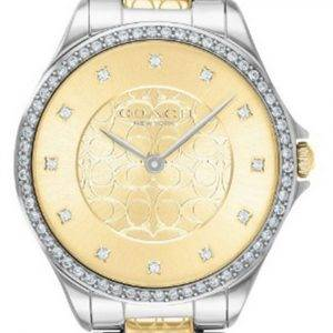 Coach Astor Crystal Accents Two Tone Stainless Steel Quartz 14503506 Womens Watch
