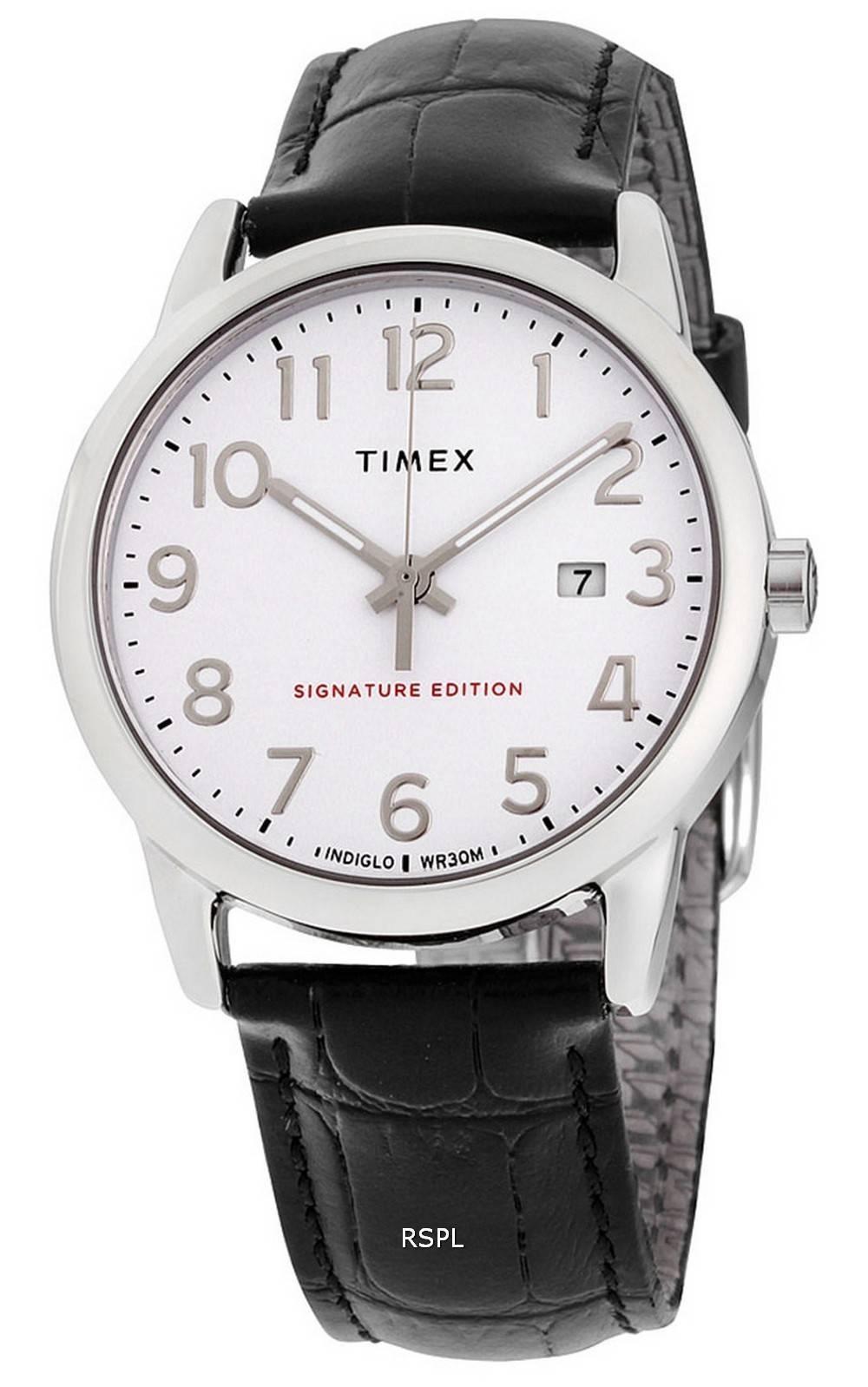 Timex Easy Reader Signature Edition Leather Strap Quartz TW2R64900 Mens Watch