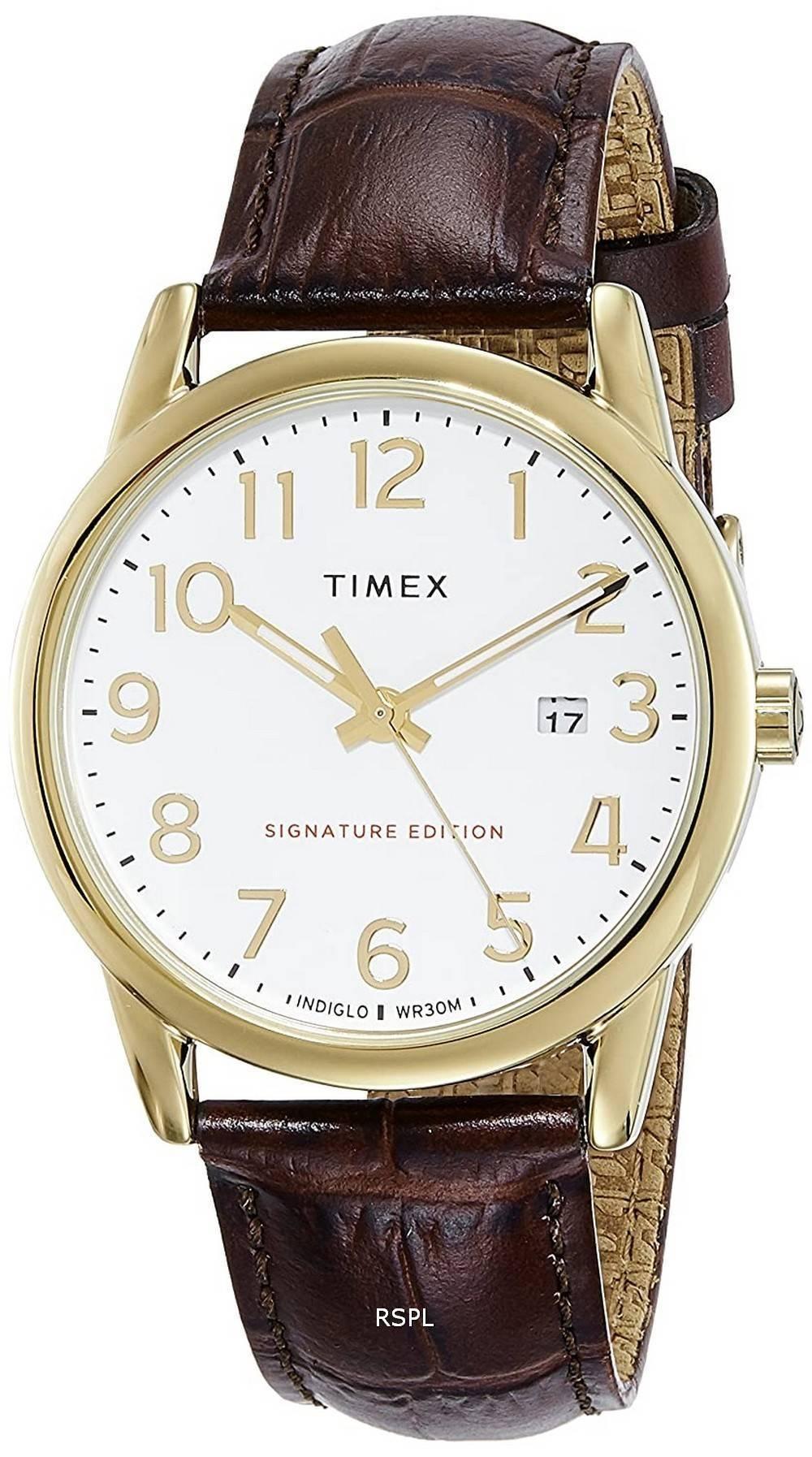 Timex Easy Reader Signature Edition Leather Strap Quartz TW2R65100 Mens Watch