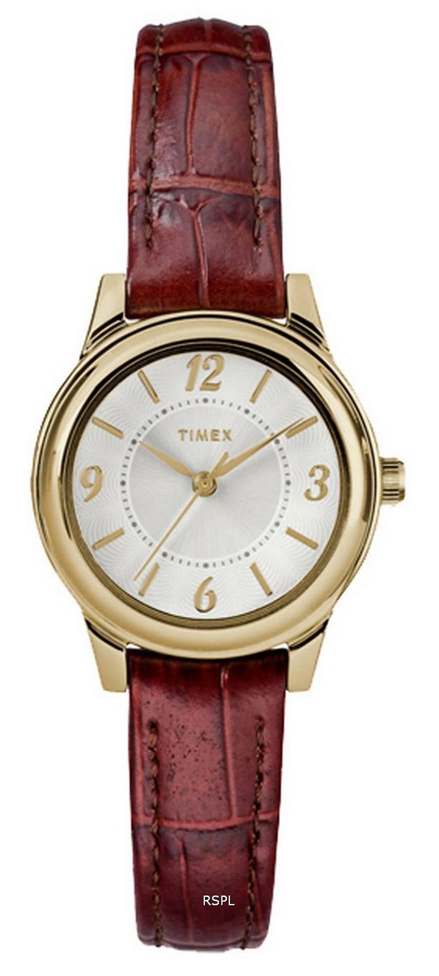 Timex Core Silver Dial Leather Strap Quartz TW2R85800 Womens Watch