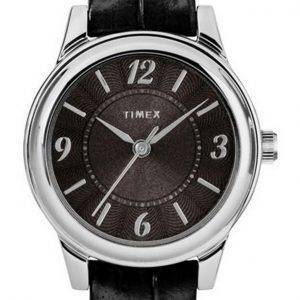 Timex Croco Black Dial Leather Strap Quartz TW2R86300 Womens Watch