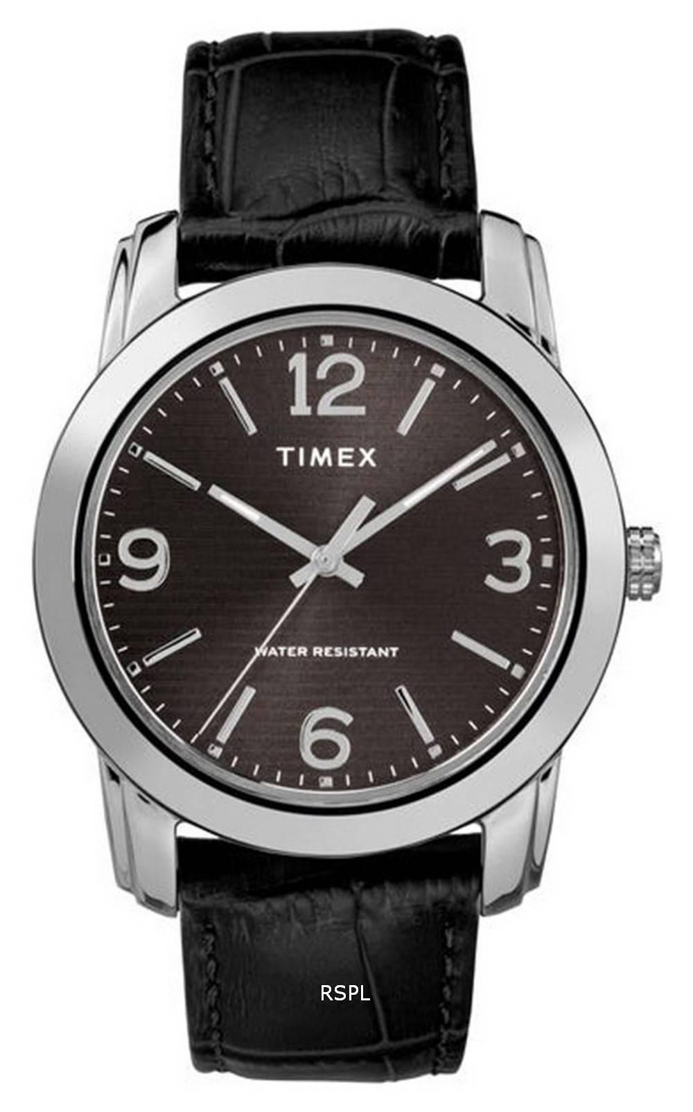 Timex Classic Black Dial Leather Strap Quartz TW2R86600 Mens Watch