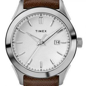 Timex Torrington Silver Dial Leather Strap Quartz TW2R90300 Mens Watch