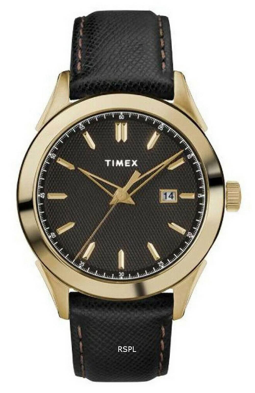 Timex Torrington Black Dial Leather Strap Quartz TW2R90400 Mens Watch