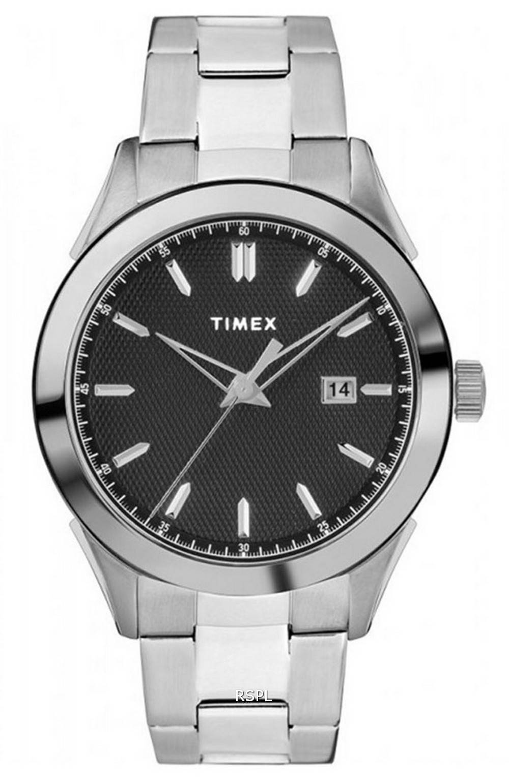 Timex Torrington Black Dial Stainless Steel Quartz TW2R90600 Mens Watch