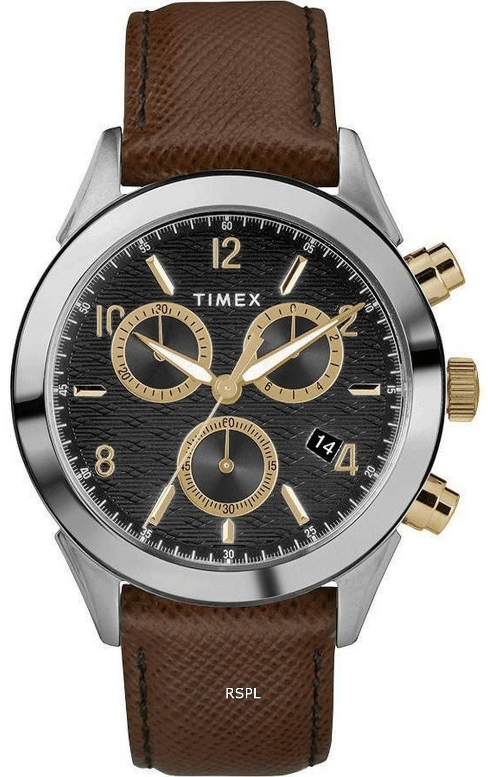 Timex Torrington Chronograph Leather Strap Quartz TW2R90800 Mens Watch