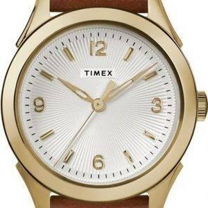 Timex Torrington Silver Dial Leather Strap Quartz TW2R91100 Womens Watch