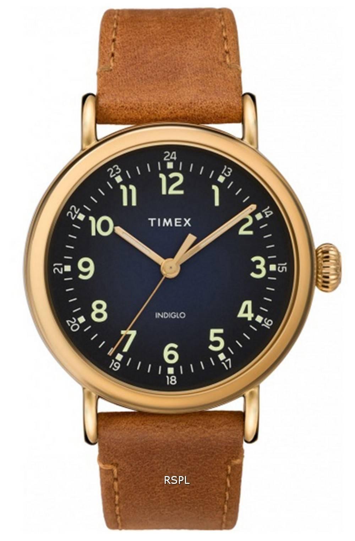 Timex Standard Blue Dial Leather Strap Quartz TW2T20000 Mens Watch