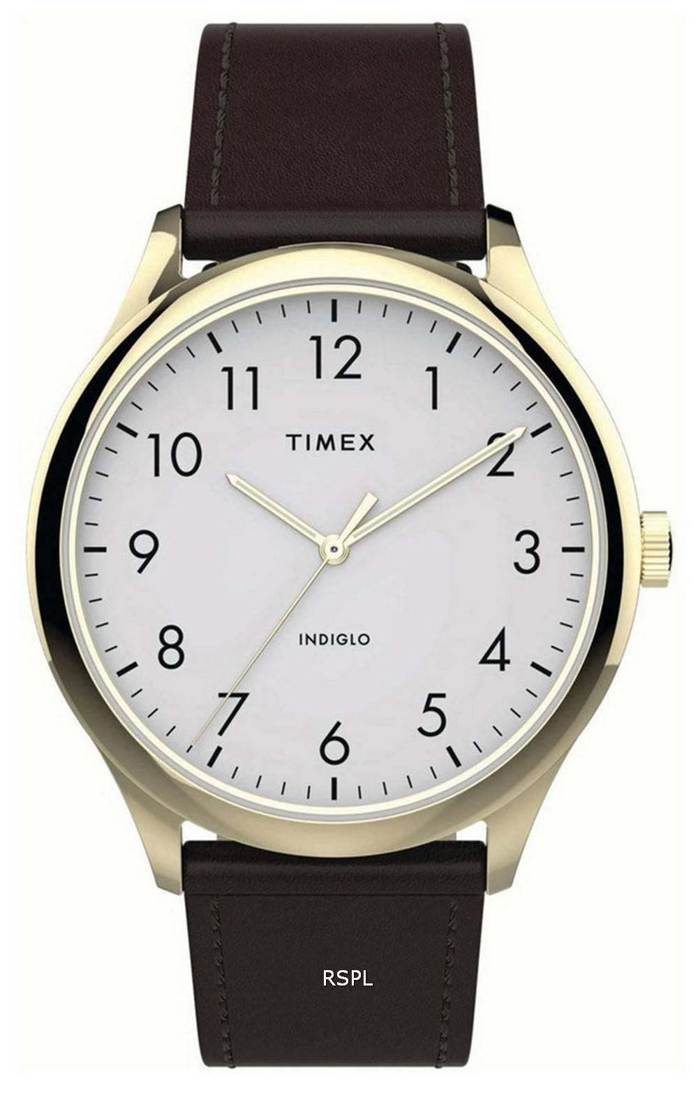 Timex Modern Easy Reader White Dial Leather Strap Quartz TW2T71600 Mens Watch