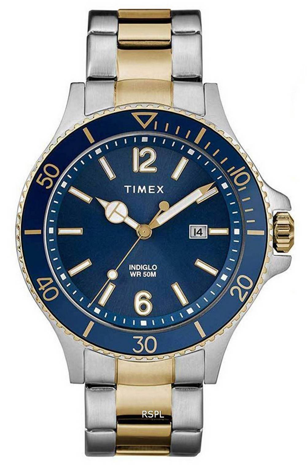 Timex Harborside Blue Dial Two Tone Stainless Steel Quartz TWG019600 Mens Watch